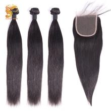 AOSUN HAIR Remy Straight Hair Bundles With Closure Brazilian Weave 100% Human Bundle