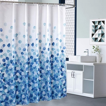 Shower Curtain Set Bathroom Fabric Waterproof Bubble Standard Size 180x180Cm