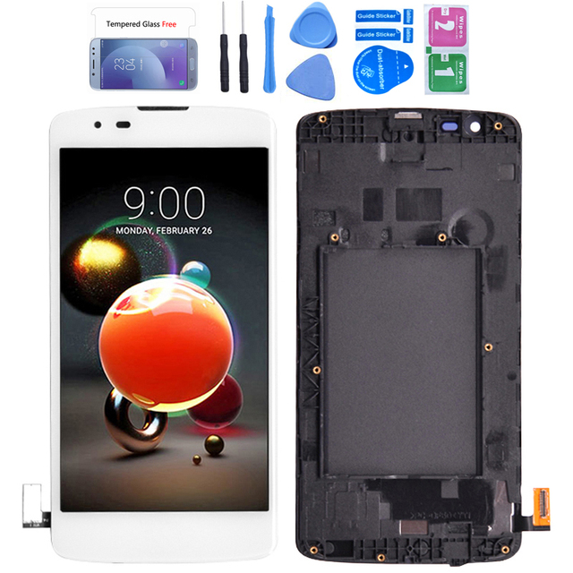 For LG K8 LTE K350 K350N K350E K350DS LCD Display with Touch Screen Digitizer Assembly With frame free shipping