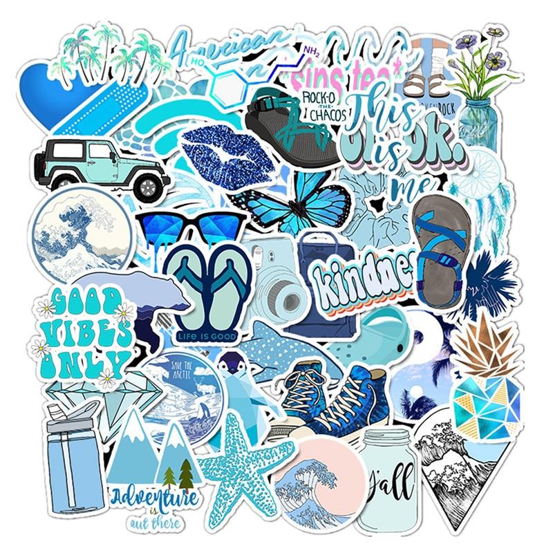 50PCS Blue Skateboard Stickers Vinyl Laptop Luggage Decals Girls Sticker LOTS