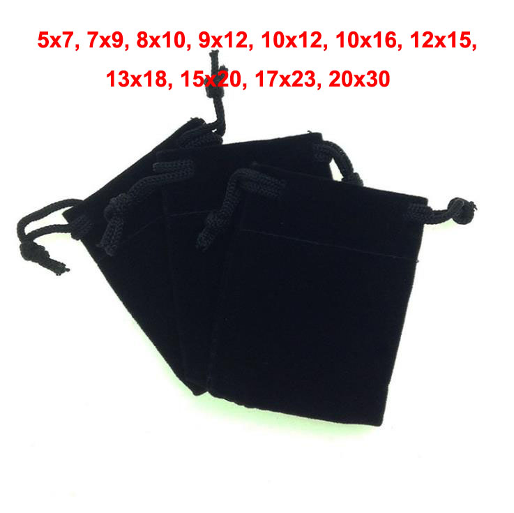 50pcs/lot 5x7cm 7x9cm 10x12cm 17x23cm 20x30cm Black Velvet Bags Drawstring Pouches For Jewelry Beads Gift Storage Packing Bag