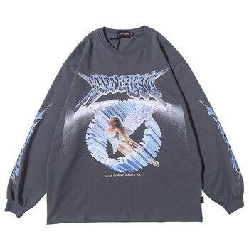 Vrouwen Lange Mouw Retro Grafische Tees Top Angel Shirt Kleding Oversized T-shirt 2020 Vrouwen Kleding Mode Lente Streetwear