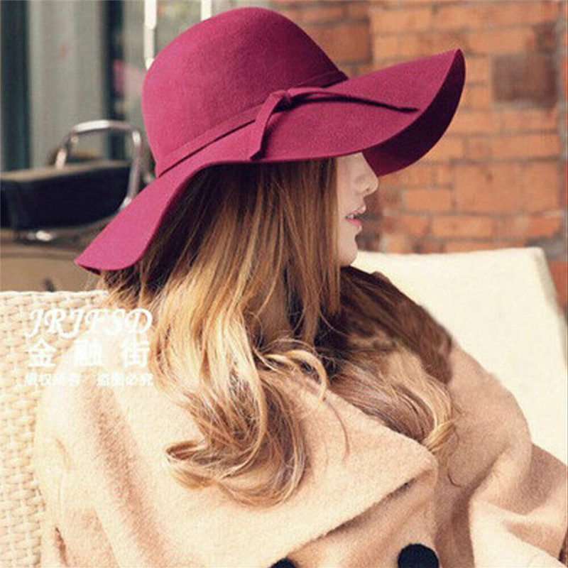2020 Summer Fashion Floppy Wool Felt Hats Casual Vacation Travel Wide Brimmed Sun Hat Foldable Beach Hat For Women With Big Head