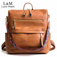 Retro grande mochila feminina de couro do plutônio mochila de viagem mochilas ombro mochilas escolares mochila volta pacote xa96h