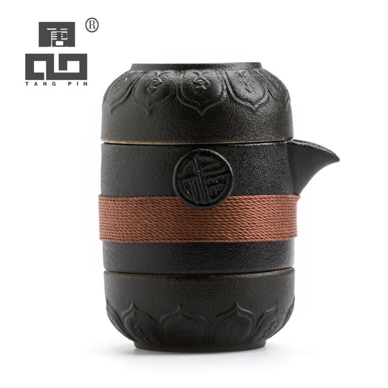 TANGPIN Black Crockery Ceramic Teapots With 2 Cups A Tea Sets Portable Travel Tea Set Drinkware