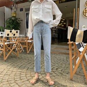 Image 4 - Женские джинсы, шикарные свободные Простые повседневные джинсы в Корейском стиле, Универсальные высококачественные трендовые джинсы с карманами для студентов, 2020