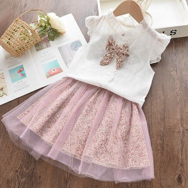 Bear Leader 2020 New Summer Kids Girls Clothes Set Fruit Parrten Short T-shirt +Bow Ball Gown Dress 2pcs Clothing Sets 3-7Y 1