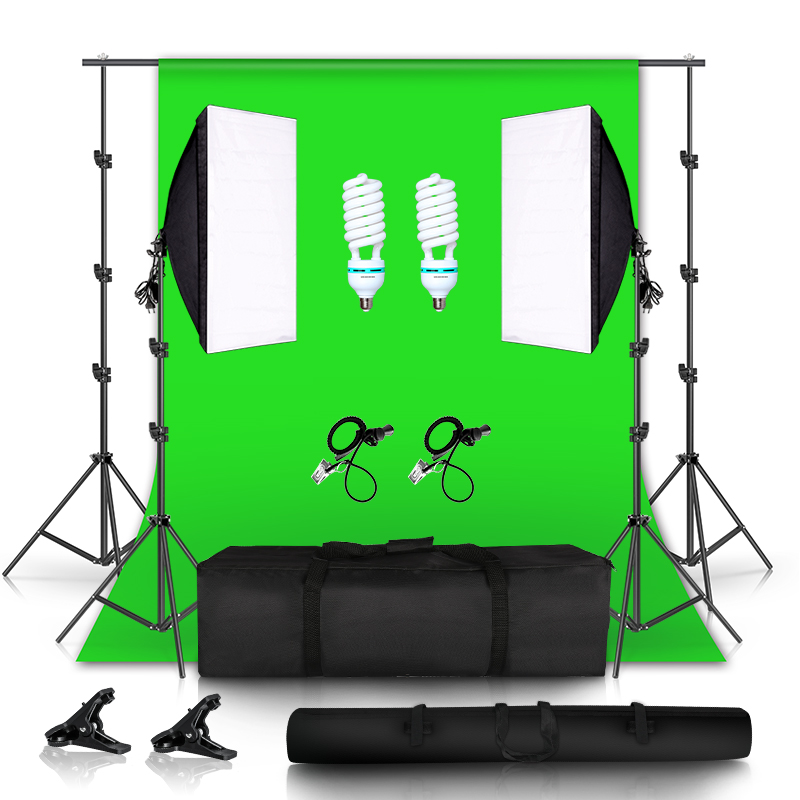 135W Softbox Continuous Lighting Kit with Backdrop Support System for Photo Studio Product, Portrait and Video Shoot 1