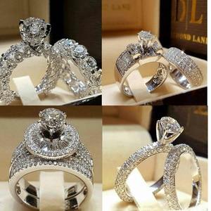 2Pcs Bridal Set Elegant rings for Women Sliver Color Wedding Engagement fashion Jewelry With Full Shiny Cubiz Zircon female ring(China)