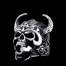 BEIER Cool Silver Color 316L Stainless Steel Viking Warrior Skull Rings Mens Punk Nordic God of War Biker Jewelry BR8-692(China)