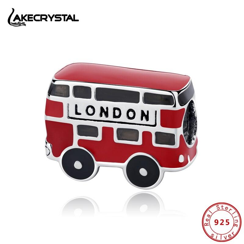 Authentic 100% 925 Prata Esterlina Encantos Fit Original Pulseiras Grânulos de Charme Ônibus Vermelho de Londres Para As Mulheres Diy Jóias Finas