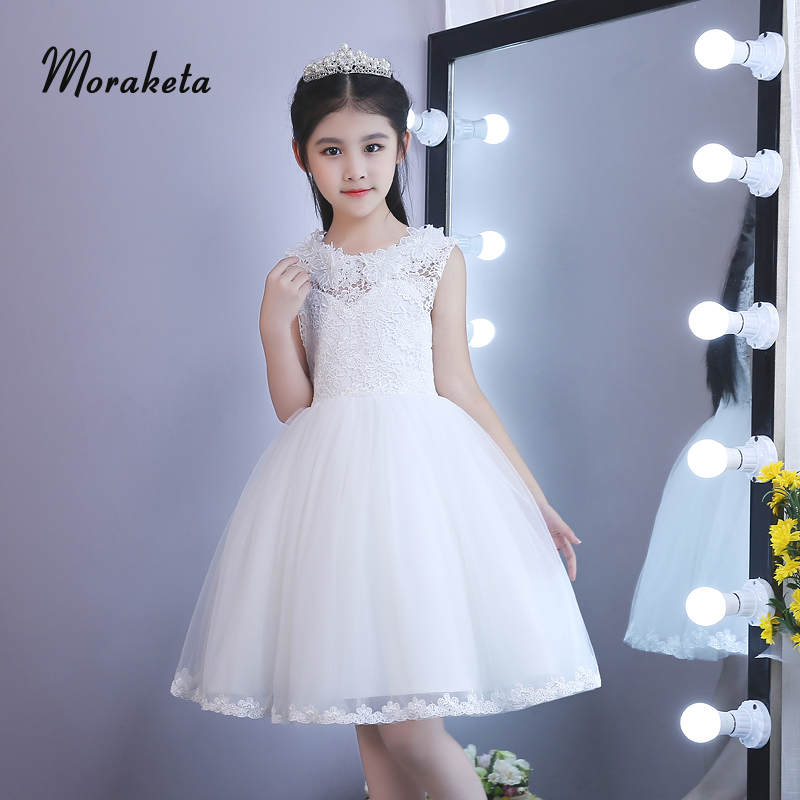 Ball Gown Knee-length First Communion   Dresses   For   Girls   O-neck Sleeveless Prinecss Tulle White   Flower     Girl     Dresses