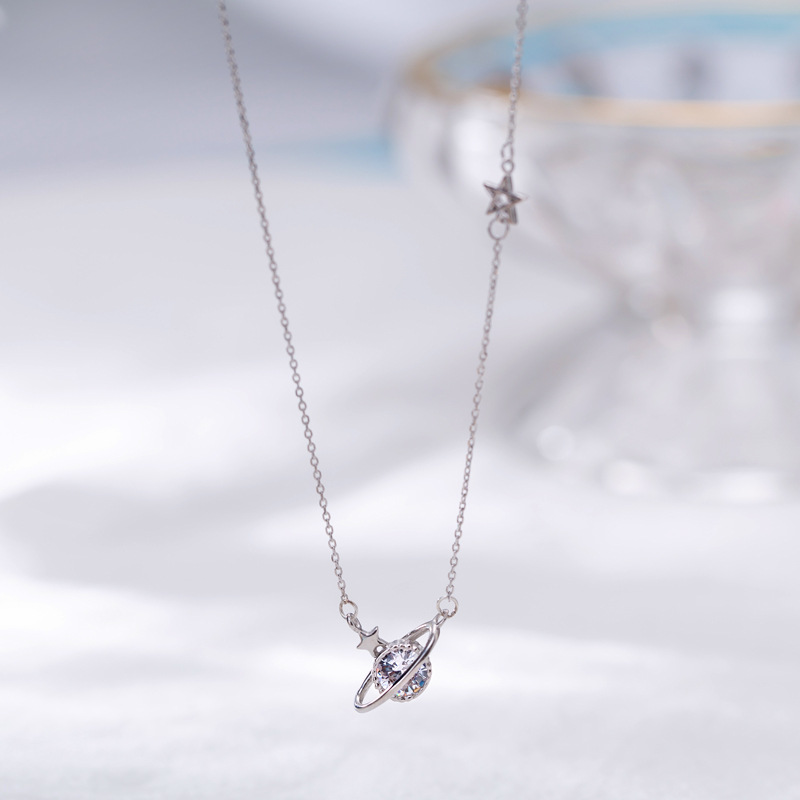 Trendy Cubic Zirconia Saturn Pendant 925 Sterling Silver Chain Necklaces For Women Girls CZ Collares Necklace Jewelry