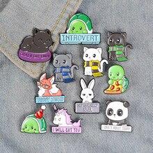 Neue Cartoon Tier Emaille Pins Benutzerdefinierte Panda Katze Schildkröte Fuchs Kaninchen Broschen Tasche Kleidung Revers Pin Abzeichen Lustige Zoo Schmuck