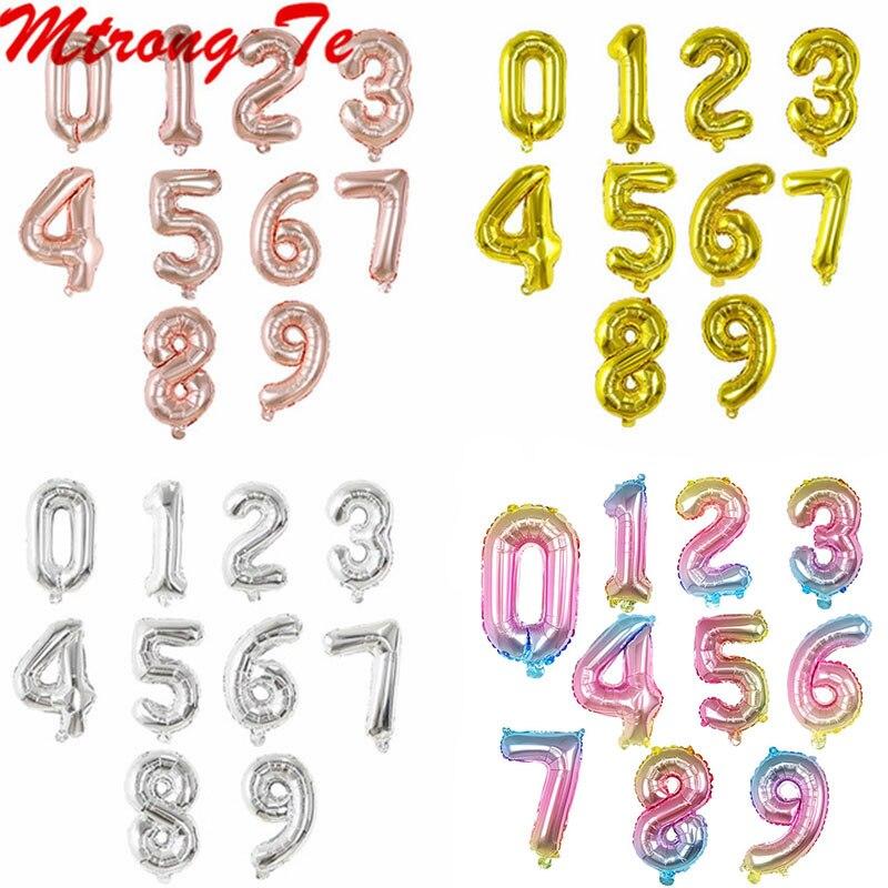 10 шт./лот 16 дюймов 0-9, серебро, розовое золото, номер шарик из фольги в форме уплотнения собственной личности цифры воздушные балон для дня ро...