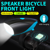 New bicycle headlight mountain bike USB charging electric horn strong light LED flashlight cycling equipment