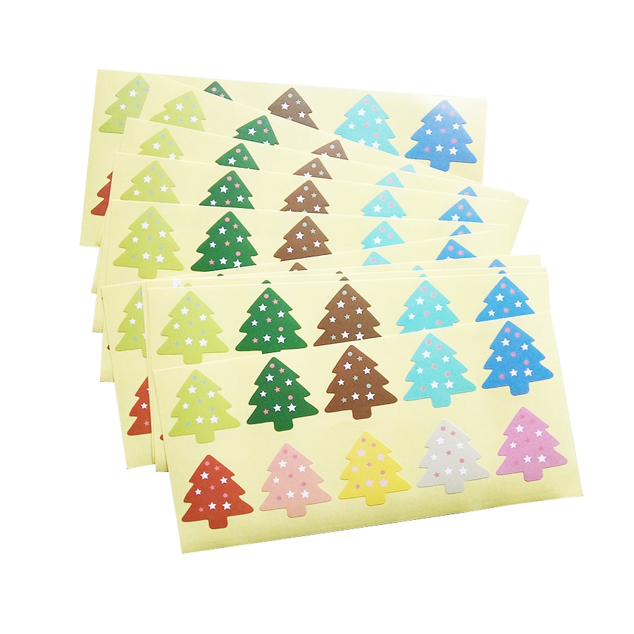 100Pcs/lot Colourful Christmas Star Tree Sealing Sticker DIY Gifts Baking Decoration Packaging Label