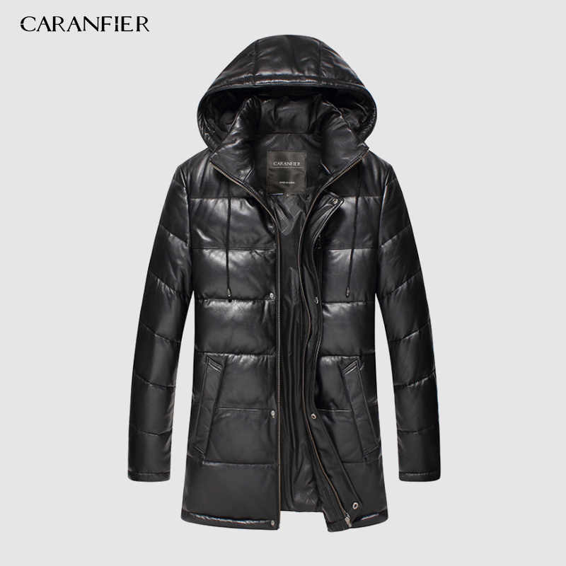 CARANFIER New 2019 Jackets Men Genuine Leather Down Jackets Winter Outerwear Sheepskin Coat  Casual Solid Overcoats