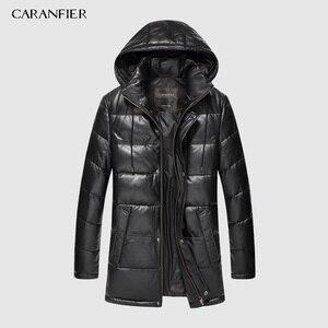 Image 1 - CARANFIER 新 2019 ジャケット男性本革ダウンジャケット冬のアウターシープスキンのコートのオーバーコート