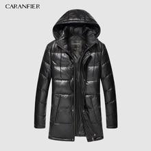 CARANFIER New 2019 Jackets Men Genuine Leather Down Jackets Winter Outerwear Sheepskin Coat  Casual Solid Overcoats