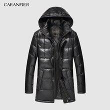 CARANFIER nuevo 2019 chaquetas de cuero genuino de los hombres chaquetas de ropa de invierno de piel de oveja de abrigo Casual sólido abrigos