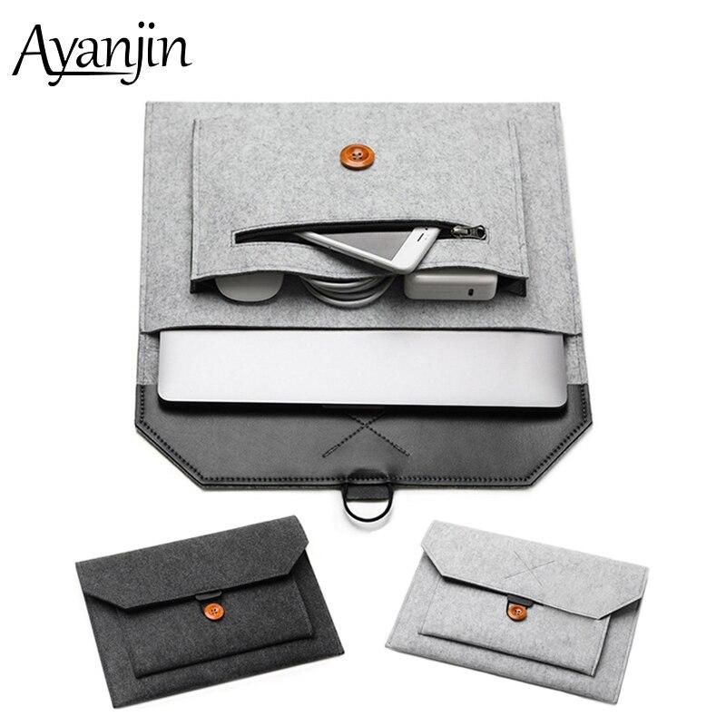New Women Men Wool Felt Sleeve Laptop Bag 14 15.6 For Macbook Air 13 2018 2019 Case Pro Retina 11 12 15 Cover For Xiaomi 13 Bags