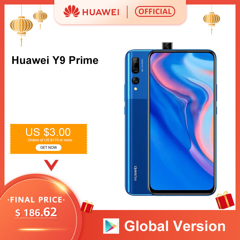 "Global Version Huawei Y9 Prime 2019 Smartphone AI Triple Rear Cameras Auto Pop Up Front Camera 6.59"" 4GB 128GB Cellphone"