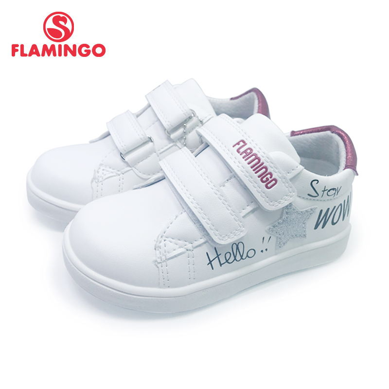 FLAMINGO  Print Spring Genuine Leather Breathable Hook& Loop Outdoor Sneakers For Girl Size 22-27 Free Shipping 201P-SW-1785