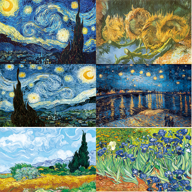 Van Gogh Oil Painting Starry Night Sunflower Abstract Canvas Art Print Poster Picture Wall House Decoration Murals(China)