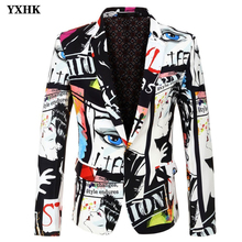 YXHK Brand 2019 New Tide Men Sakko Fashion Printing Blazer Design Plus Size Hip Hot Casual Man Jacket Slim Fit Singer Costume