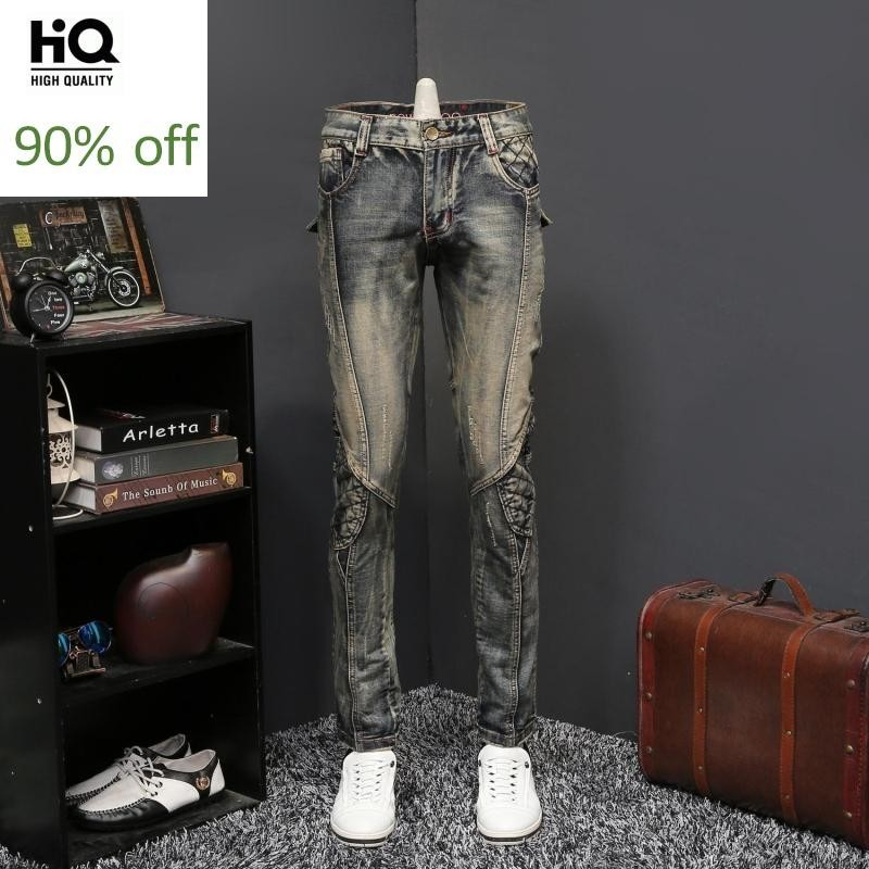 Harajuka New Brand Mens Vintage Wash Distressed Mens Denim Pants Full Length Motorcycle Bike Slim Fit Straight Plus Size Trouser