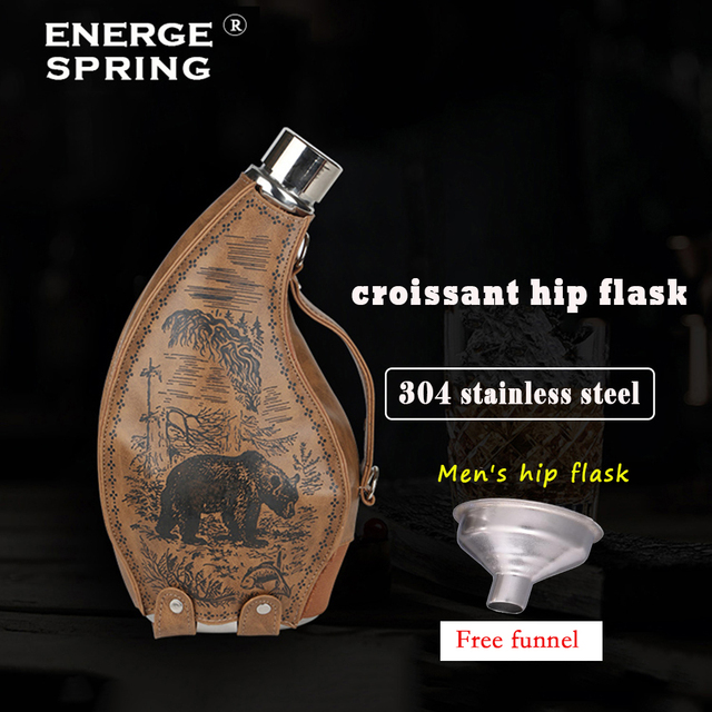 ENERGE SRPING 53oz stainless steel Horns hip flask for menfolk wine pot with leather case portable outdoor flagon with funne 3
