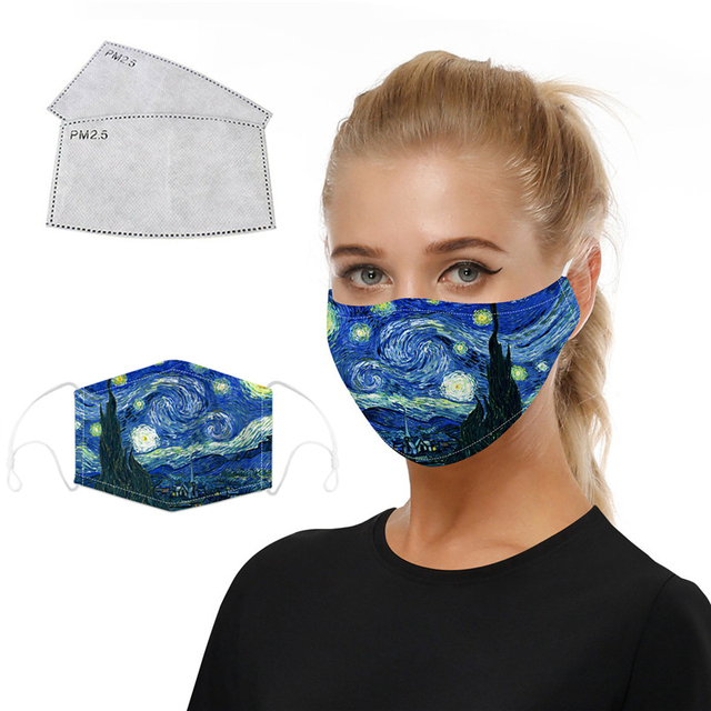 The Starry Night Printing Reusable Protective PM2.5 Filter Mouth Mask Anti Dust Face Mask Mouth-muffle Bacteria Proof Flu Mask