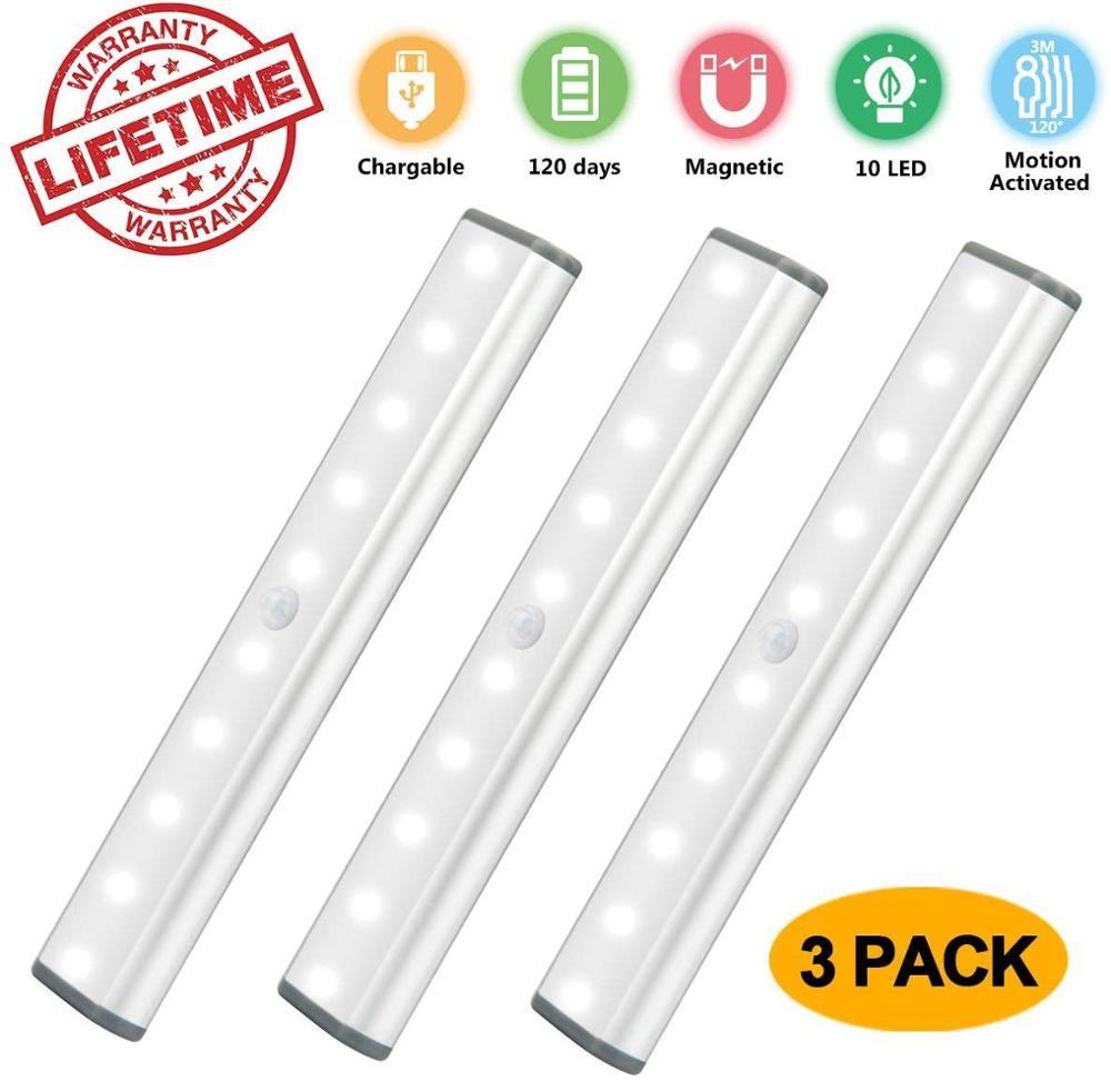 Usb Charing Led Onder Kabinet Light Motion Sensor Lamp 10 Leds Voor Garderobe Kast Kast Keuken Verlichting Led Nachtlampje LED-strips    - AliExpress