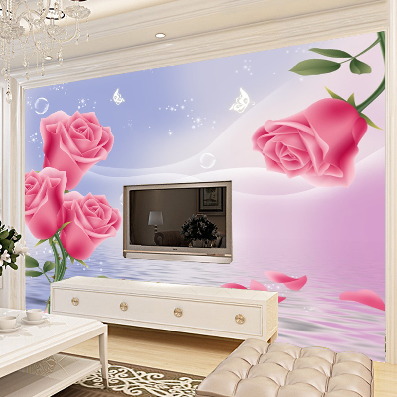 3D Rose TV Wall Wallpaper Living Room Bedroom European-Style Non-woven Fabrics Wallpaper Mural Wall Cloth