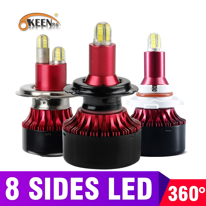 OKEEN H1 H7 H4 LED H8 H11 HB3 9005 HB4 9006 8sides 3D Led Headlights Mini 13500LM Car Light Bulbs 360 Degree Diode Auto Lamp