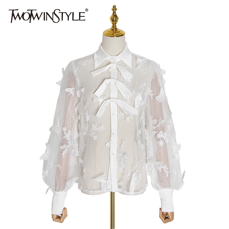 TWOTWINSTYLE Embroidery Mesh Shirt Women Lapel Collar Lantern Long Sleeve Loose Hit Color Blouse Female Fashion 2020 Clothes New