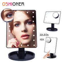 OSHIONER Dimmable LED Make Up Mirror 16/22 Light Bulbs Illuminated Vanity Cosmetic Beauty Mirror with 10x Magnifier(China)
