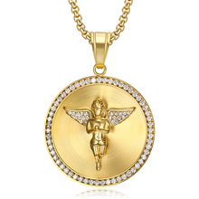 Hip Hop Iced Out Bling Angel Wings Necklaces Gold Color Stainless Steel CZ Pendant & Chains for Men/Women Jewelry Dropshipping hip hop iced out bling horse head pendants necklaces for men gold color stainless steel round cz necklace jewelry dropshipping