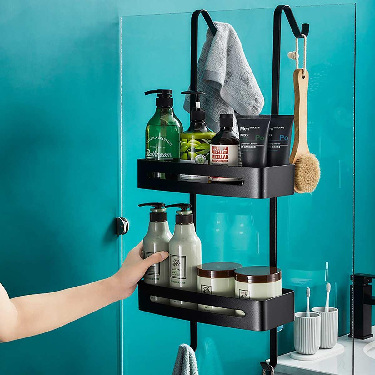 Black Hanging Bath Shelves Bathroom, Hanging Bathroom Shelf