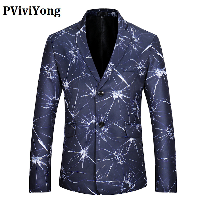 PViviYong Brand 2020 High Quality Men's Top Suit Jacket Personality Crack Slim Fit Suit Men Blazer Europe Size X06