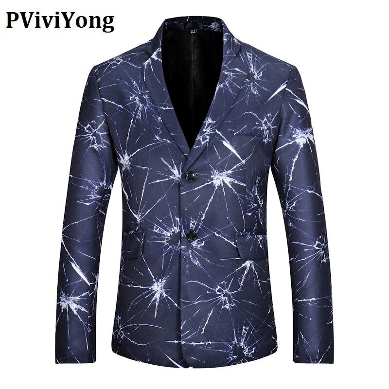 PViviYong Brand 2020 High Quality Men's Top Suit Jacket Personality Crack Slim Fit Suit Men Blazer Europe Size X06