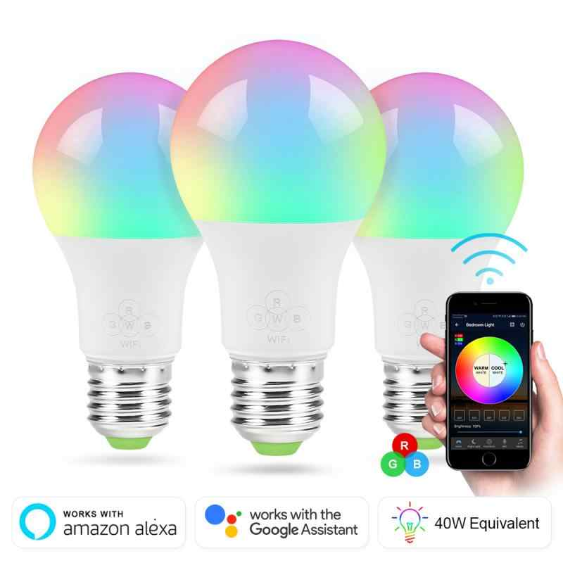 Wifi Slimme Lamp E27 Dimbare Multicolor Wake-Up Light Wifi Rgb Smart Led Lamp Apps Ios Android amazon Alexa Google