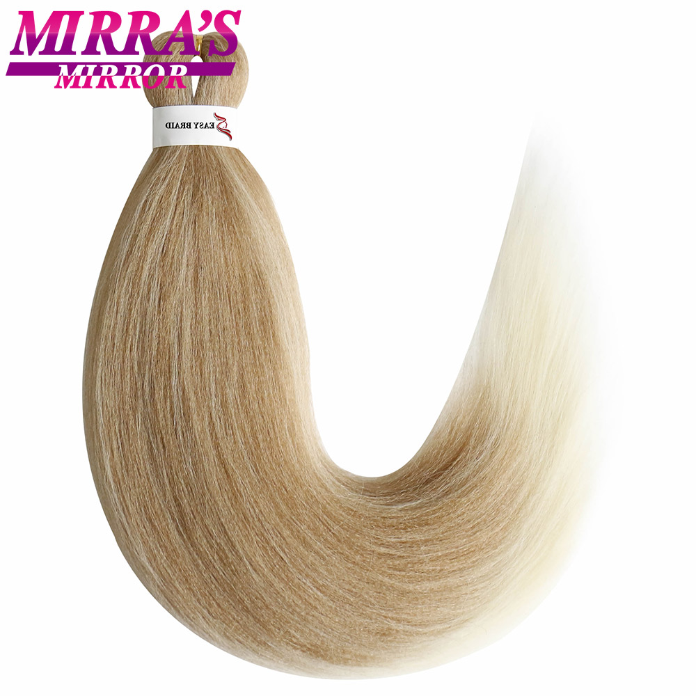 Mirra's Mirror Pre-Stretched Ombre Braiding Hair Crochet Easy Jumbo Braids Hair Extensions Synthetic Straight Yaki Hair Two Tone