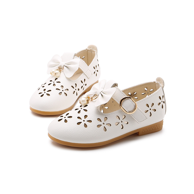 Princess Hollow Bead Kids Leather Shoes For Little Girls Dress Shose Big Children Shoes Baby 1 2 3 4 5 6 7 8 9 10 11 12 Years