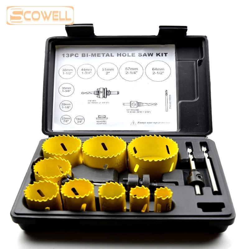 30% Off 13pcs HSS Bi-metal Hole Saw Cutter Kit 19mm To 64mm Hole Saw Cutting Set Core Drill Bit Wood Metal Drilling Holesaw Bit