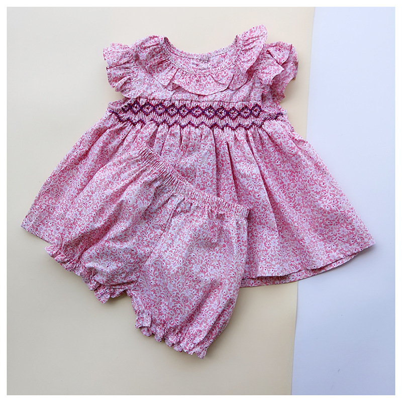 2019 Summer Spain Girls Cotton Soft Clothes Baby Girls Floral Sweet 1-3Years Old Girls Boutique Outfits  Toddler Girl Clothes