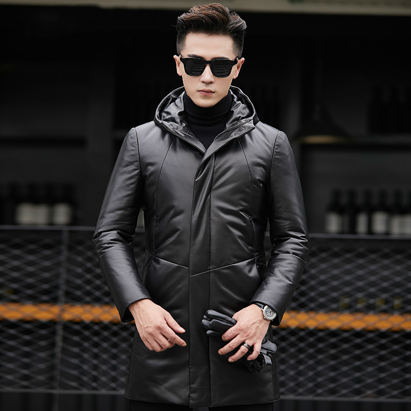 Genuine Leather Jacket Men Winter Jackets Hooded Real Sheepskin Men Warm Duck Down Coat Fashion Jaqueta Couro YZF6803 YY420