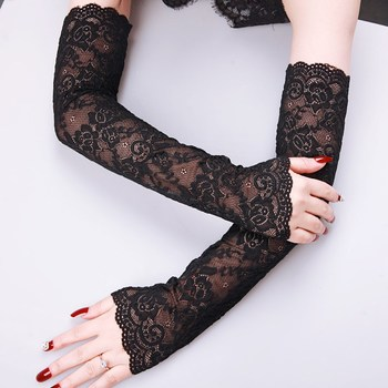 Women's Summer Sun Protection Sleeves Mesh Lace Thin Long-sleeved Bike Breathable Cycling Gloves Driving Arm Warmers Sleeves