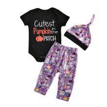 Pudcoco 0-24M Halloween Newborn Pumpkin Cute Baby Boys Top Romper Cartoon Purple Pants Hat 3Pcs Outfits Set Party Clothes